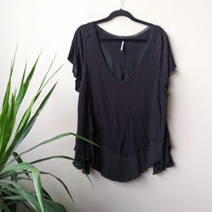 Free People Cookie Scoop Neck Knit Black Shirt L